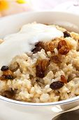 Bowl of creamy brown rice porridge topped with sultanas, yogurt and cinnamon.  Delicious, healthy eating.
