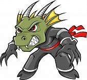 Постер, плакат: Воин ниндзя Дракон ящерица векторные иллюстрации