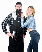 Man Bearded Hipster And Girl Ready For Barbecue White Background. Family Bbq Ideas. Delicious Grille poster