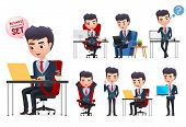 Business Man Vector Characters Set. Business Professional Office Young Manager Character Sitting  An poster