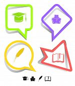 Education icon set. Graduation cap, book, inkstand, feather. Paper stickers. Vector illustration.