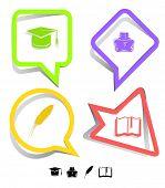 Bildung Symbolsatz. Graduation Cap, Buch, Fall, Feder. Papier-Aufkleber. Vektor-Illustration.