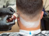 Hairstylist Spreading Shaving Foam With Shaving Brush On Clients Neck, Close Up View. Hands In Black poster
