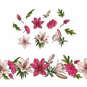 Floral Summer Elements With Cute Floral Bouquets. Floral Elements For Your Greeting Cards, Design, W poster