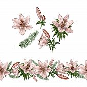 Floral Summer Elements With Cute Floral Bouquets Of Lilies. Floral Elements For Your Greeting Cards, poster