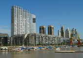 Puerto Madero is a district at Buenos Aires, occupying a significant portion of the R�?�­o de la Plata riverbank and representing the latest architectural trends in the city of Buenos Aires.