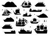 Sea Ship Silhouettes. Boats Adapted To The Open Sea For Coastal Shipping, Trade And Travelling. Vect poster