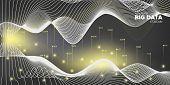 3d Big Data. Gray Technology Illustration. Digital Concept. Gray Abstract Big Data. Dark Virtual Sys poster