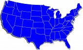 stock photo of united states map  - A Simple Blue Map of the United States over white - JPG
