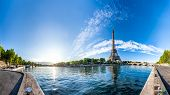 Scenic panorama of the Eiffel Tower and the riverside of Seine in Paris, France. 360 degree panorami poster