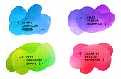 Gradient Blue Red Green Fluid Shapes Banners Set With Halftone Pattern. Vector Geometric Gradient Sh poster