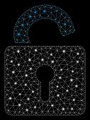Flare Mesh Open Lock With Glow Effect. Abstract Illuminated Model Of Open Lock Icon. Shiny Wire Fram poster