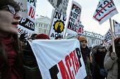 Street protest against ACTA treaty
