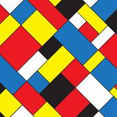 Colorful Color Blocks Background In Mondrian Style. Vector Illustration For Your Graphic Design. poster
