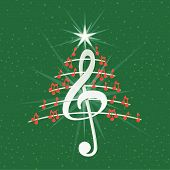 Christmas Tree Made Of Red Musical Notes, White Treble Clef And Pentagram Lines On Green Background  poster