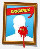 Vector frame with faceless man and splashed tomato. For propaganda and funny concepts