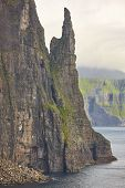 Stack In Faroe Islands, Sandavagur. Trollkonufingur In Vagar Island Coastline. poster