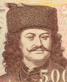 HUNGARY - CIRCA 2008: Francis II Rakoczi (1676-1735) on 500 Forint 2008 Banknote from Hungray. National hero of Hungary.