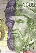 SPAIN - CIRCA 1992: Francisco Pizarro (1471/1476-1541) on 1000 Pesetas 1992 Banknote From Spain. Spa
