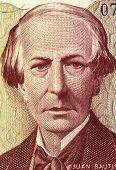 ARGENTINA - CIRCA 1984: Juan Bautista Alberdi (1810-1884) on 5000 Pesos 1984 Banknote from Argentina. Argentine political theorist and diplomat.