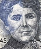 SPAIN - CIRCA 1979: Rosalia de Castro (1837-1885) on 500 Pesetas 1979 Banknote from Spain. Galician