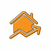 Orange Rising Cost Of Housing Icon Isolated On White Background. Rising Price Of Real Estate. Reside poster