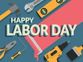 Labor Day Banner. Design Template. Vector Illustration. Text Happy Labor Day Decorate With Repair To poster