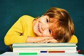 Back To School. Great Study Achievement. Funny Little Boy Pointing Up On Blackboard. Happy School Ki poster