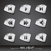 Set of glossy music web 2.0 icons or buttons in black and white color on transparent background. EPS