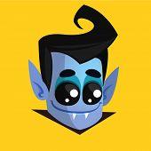 Halloween Cartoon Vampire Head. Vampire Illustration Avatar poster