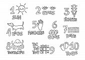 Numbers And Counting Practice Printable Poster, Worksheet For Pre School, Kindergarten Kids. Contour poster