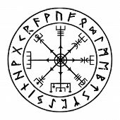 Sacred Geometry. Galdrastafir. Magic Runic Symbols That Appeared In The Early Middle Ages In Iceland. poster