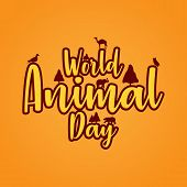 World Animal Day 4 October. Banner World Animal Day With Wild Animals. Animals On The Planet, Animal poster