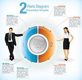 Colorful segmented wheel format presentation diagram with the figure of a business man and woman on