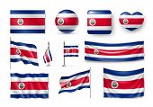 Various Flags Of Costa Rica Independent Country. Realistic Waving National Flag On Pole, Table Flag  poster