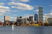 The cityscape of Back Bay Boston, Massachusetts, USA from across the Charles River.