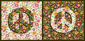 Variation flowers hippie colorful fashion wallpaper with peace symbol poster