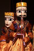 pic of rajasthani  - Rajasthani puppet playing a musical instrument Jaipur Rajasthan India - JPG