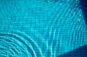 Swimming Pool Bottom Caustics Ripple And Flow With Waves Background. Surface Of Blue Swimming Pool,  poster