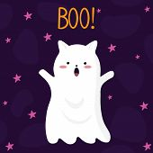 Vector Graphics. Adorable, Cute Illustration Of A Ghost Cat. Hand Written Text. Holidays Cute Ghost  poster