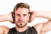 Enjoy Every Sound. Modern Earphones. Pure Sound. Inspiring Music Concept. Excellent Sound Modern Equ poster