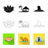 Vector Illustration Of Journey And Exotic Symbol. Collection Of Journey And National Stock Symbol Fo poster