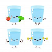 Cute Smiling Happy Water Glass Healthy,fitness Set. Vector Flat Cartoon Character Illustration.isola poster