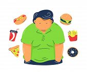 Fat  Obesity Man With Fast Food Products. Vector Trendy Flat Line Illustration Design.isolated On Wh poster