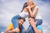 Men Carry Girlfriends On Shoulders. Summer Vacation And Fun. Couples On Double Date. Inviting Anothe poster