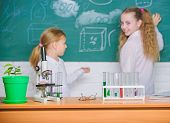 Smart Cuties. School Children In Science Classroom. Microscope And Laboratory Equipment. Laboratory  poster