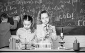 Little Girls And Boy In Lab. Chemistry Science. Little Kids Earning Chemistry In School Lab. Little  poster