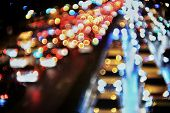 Heavy Traffic Congestion In The City. Car Headlights And Rear Lights Defocused. Road Light Bokeh. Vi poster