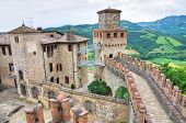 Perspective of the Castle of Vigoleno. Emilia-Romagna. Italy.
