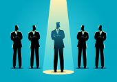 Silhouette Illustration Of A Businessman Being Spotlighted Among Other Businessmen. Stand Out From T poster